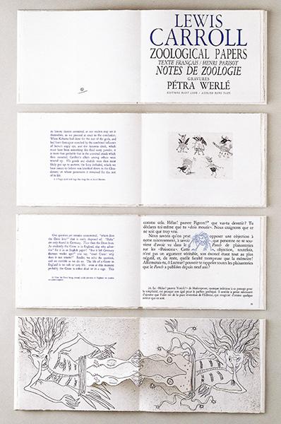 Lewis Caroll, notes de zoologie/zoological papers, 1988, texte de Lewis Caroll, eaux-fortes et vignette de Pétra Werlé. Atelier René Taizé co-éditeur. 95 exemplaires